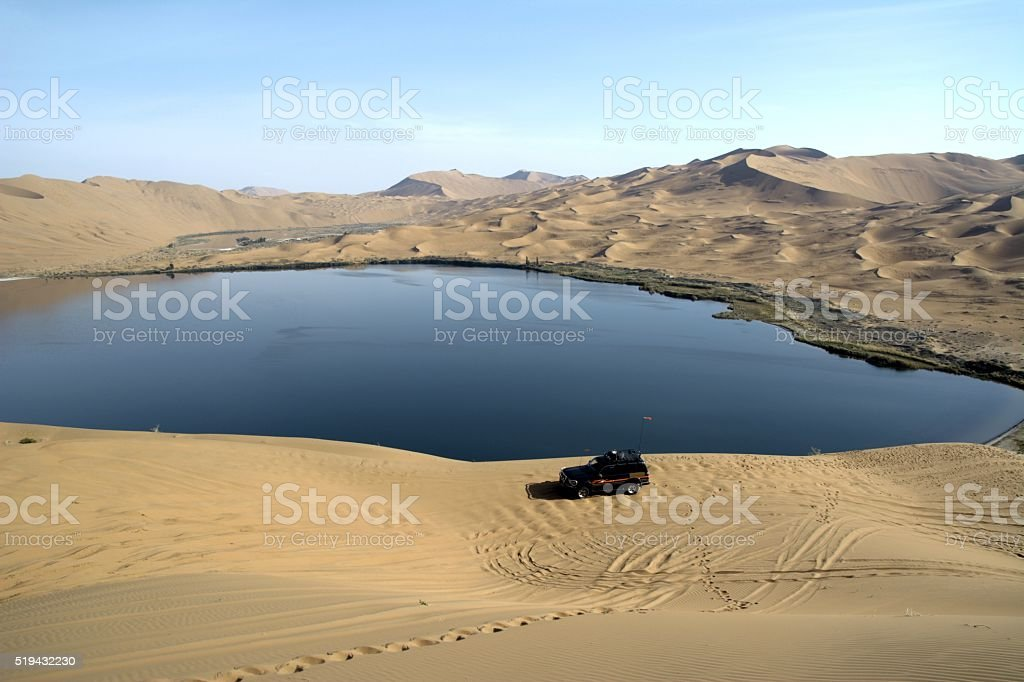 Lake in Badain Jaran desert, Inner Mongolia, China stock photo