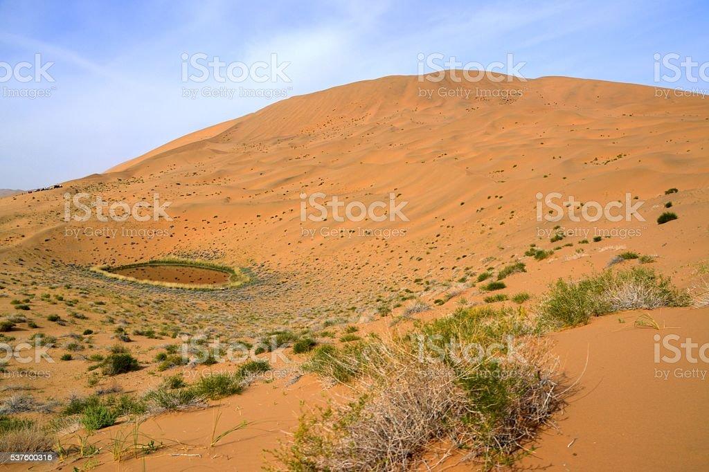 Lake in Badain Jaran desert, Inner Mongolia, China stock photo