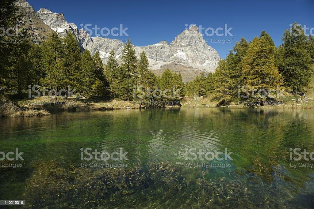Lake in Breuil-Cervinia stock photo