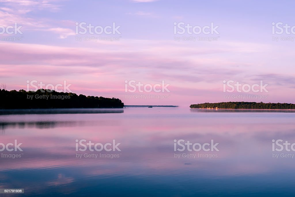 Lake in Canada at Sunrise stock photo