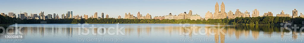 Lake in Central Park and New York City Skyline royalty-free stock photo