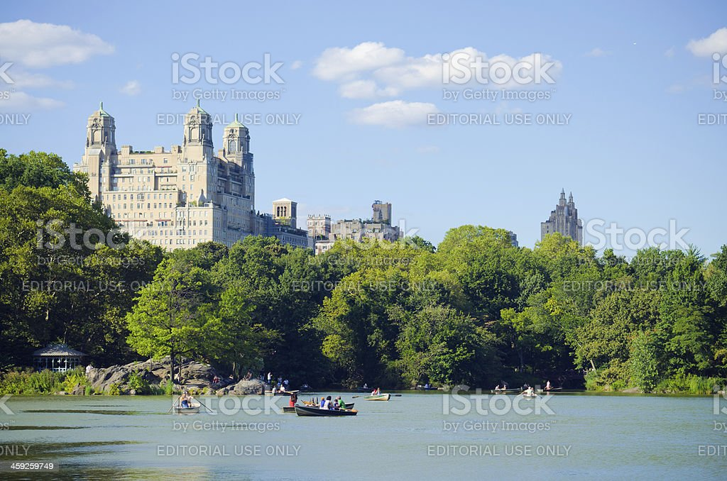 Lake in Central Park with The Beresford royalty-free stock photo