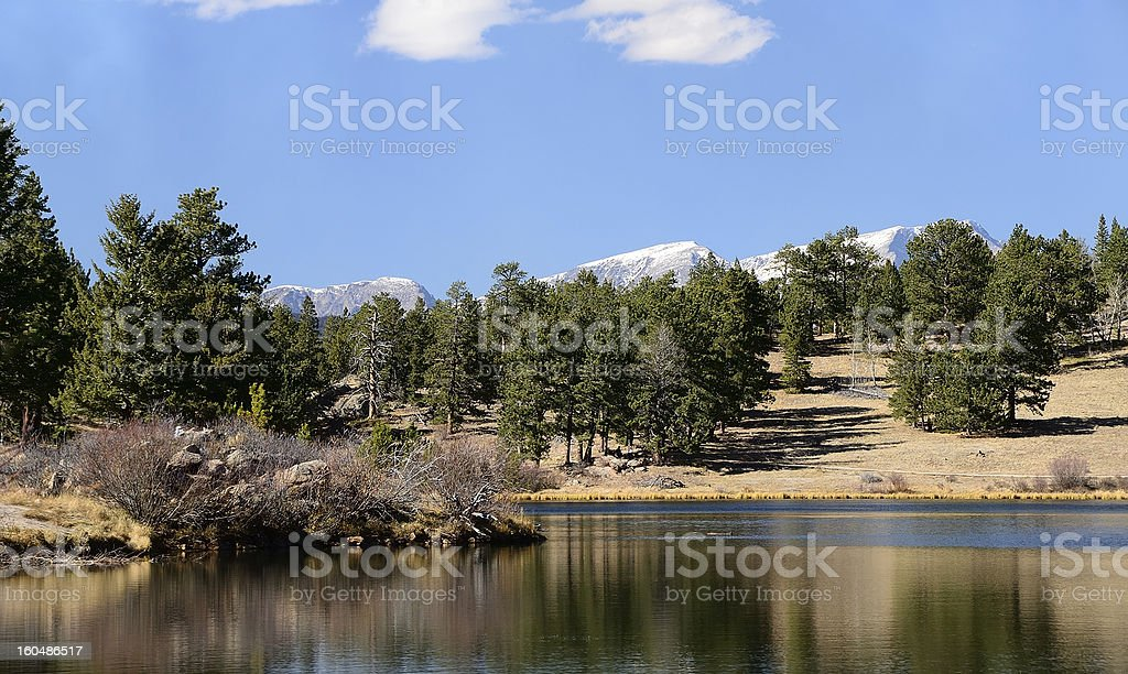 Lake in Colorado Mountains, tree-Lined royalty-free stock photo