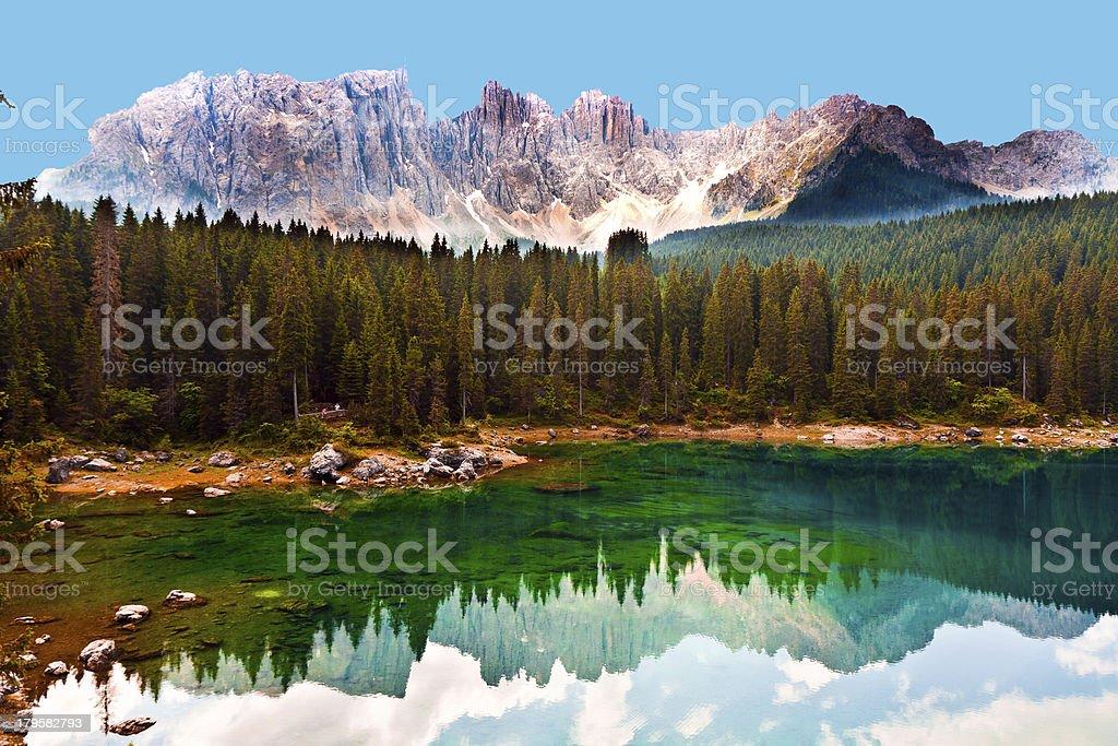 lake in Dolomites stock photo