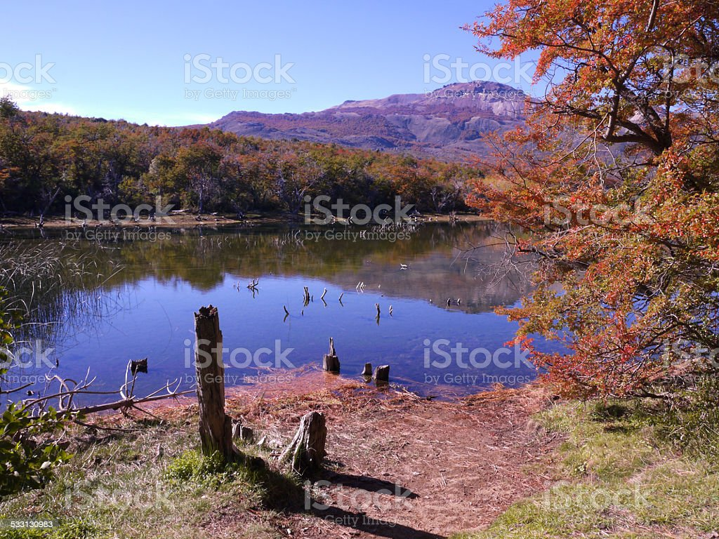lake in Esquel National Park stock photo