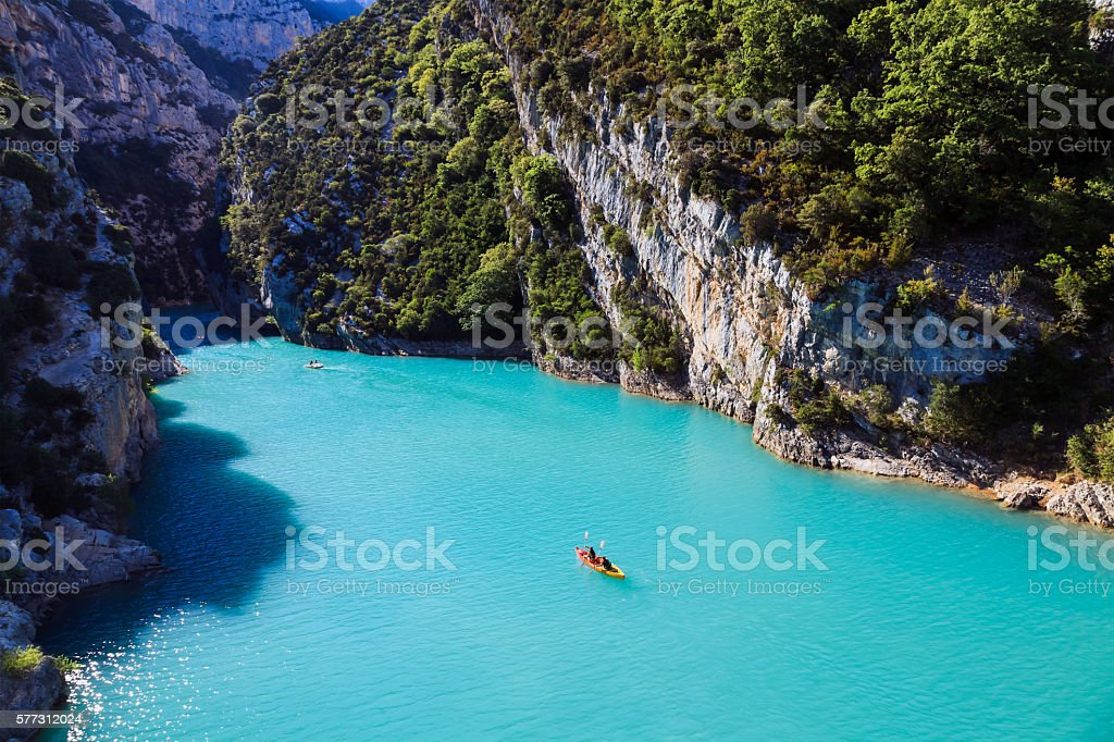 Lake in France throwing in the Verdon canyon stock photo