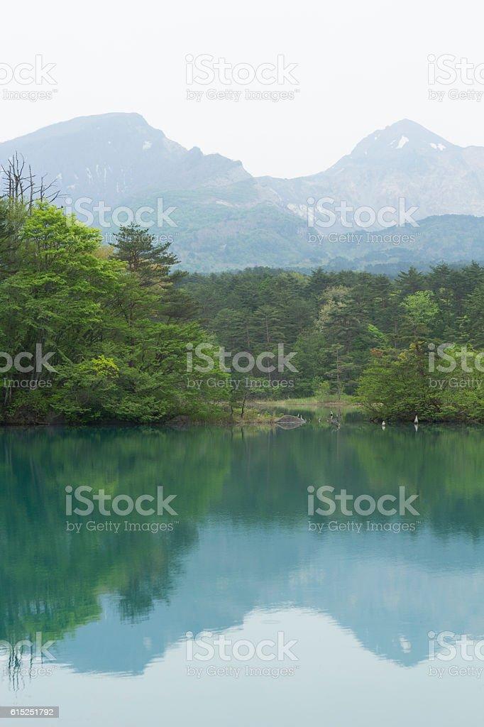 Lake in Kitashiobara stock photo