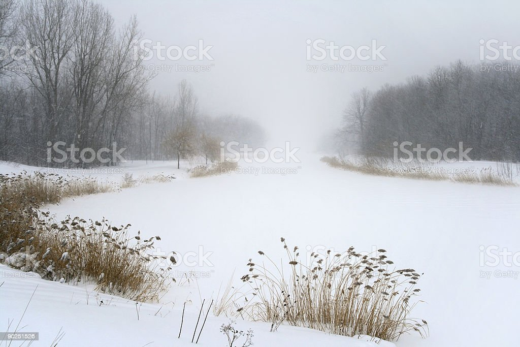 Lake in misty haze of winter blizzard royalty-free stock photo