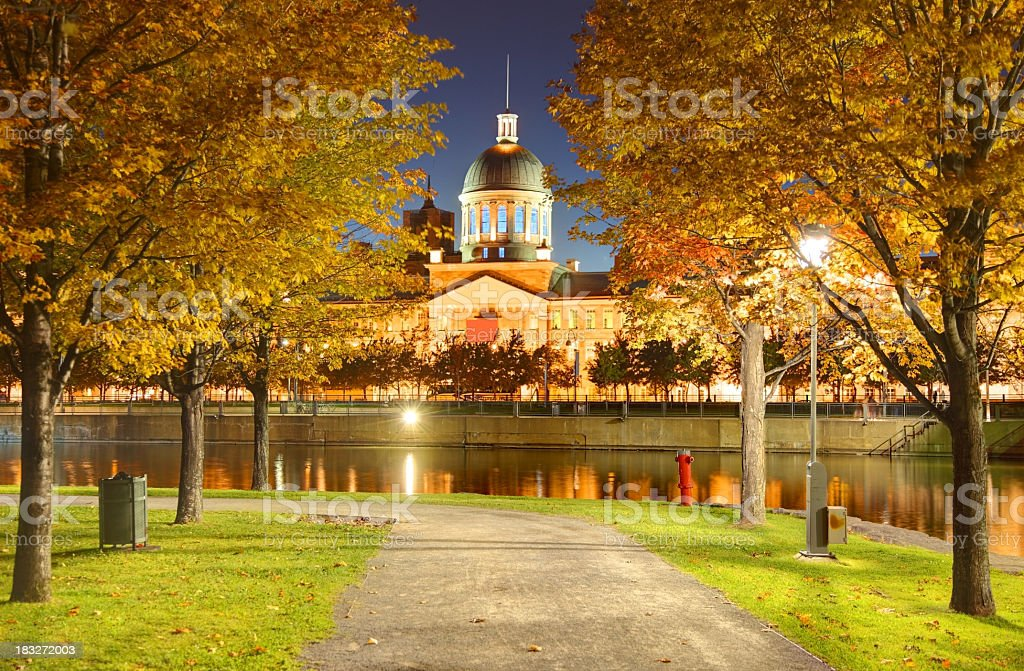 Lake in Montreal during Autumn stock photo