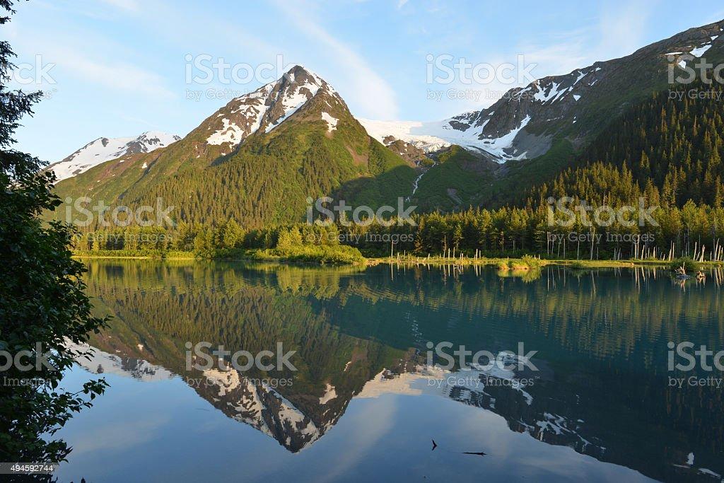 Lake in mountains, Alaska stock photo