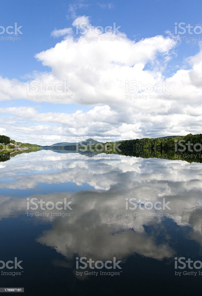 Lake in Norway with clouds reflection royalty-free stock photo