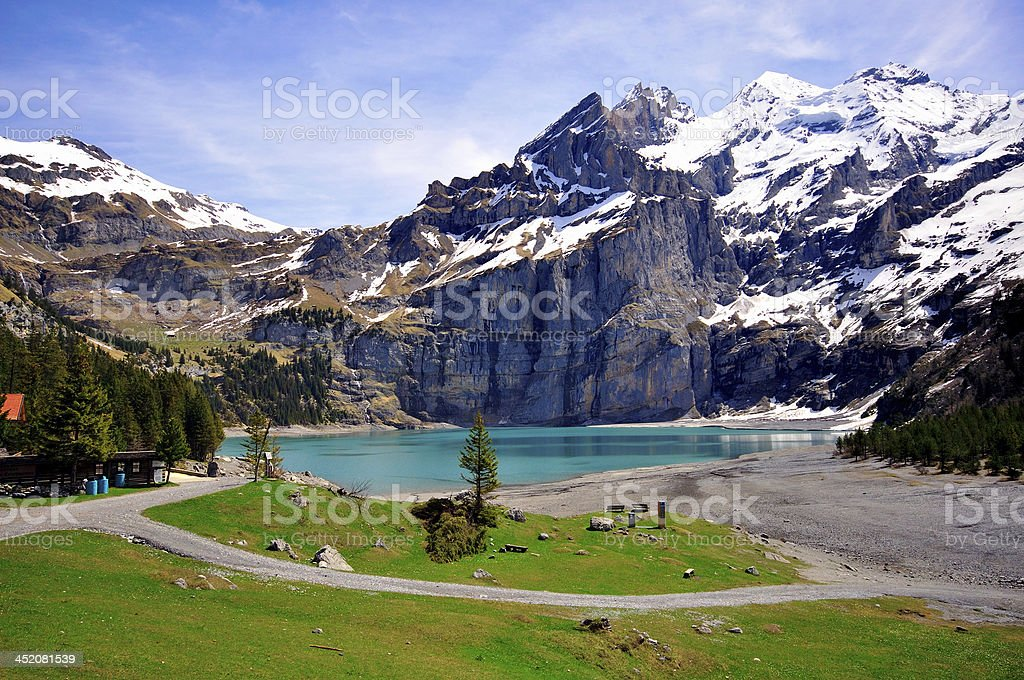 Lake in swiss Alps stock photo