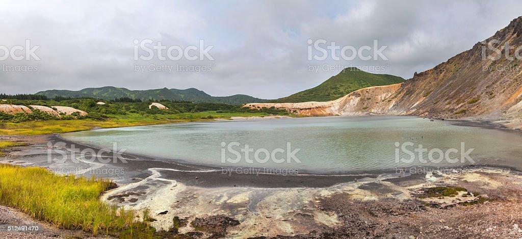 Lake in the caldera Mendeleev volcano stock photo