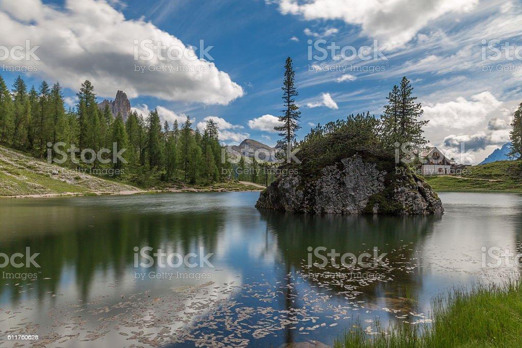 Lake in the Dolomites stock photo