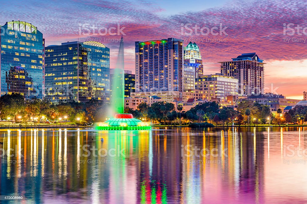 Lake in the heart of Orlando, Florida at sunset stock photo