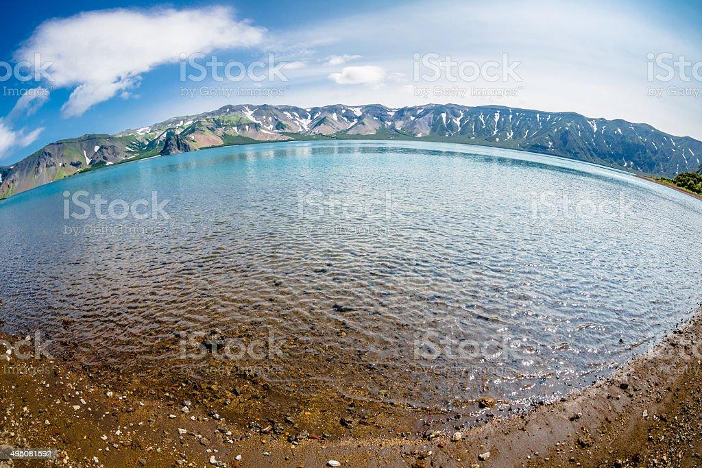 Lake in the Ksudach Volcano stock photo
