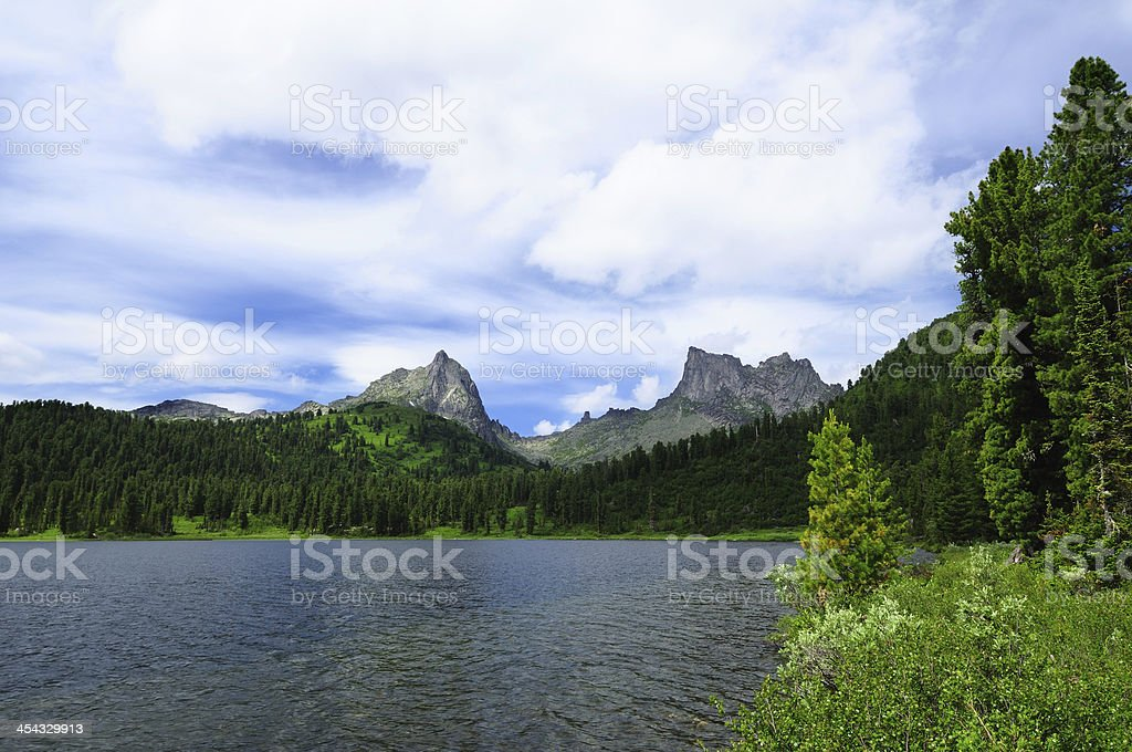 Lake in the mountains (Siberia, Ergaki). stock photo