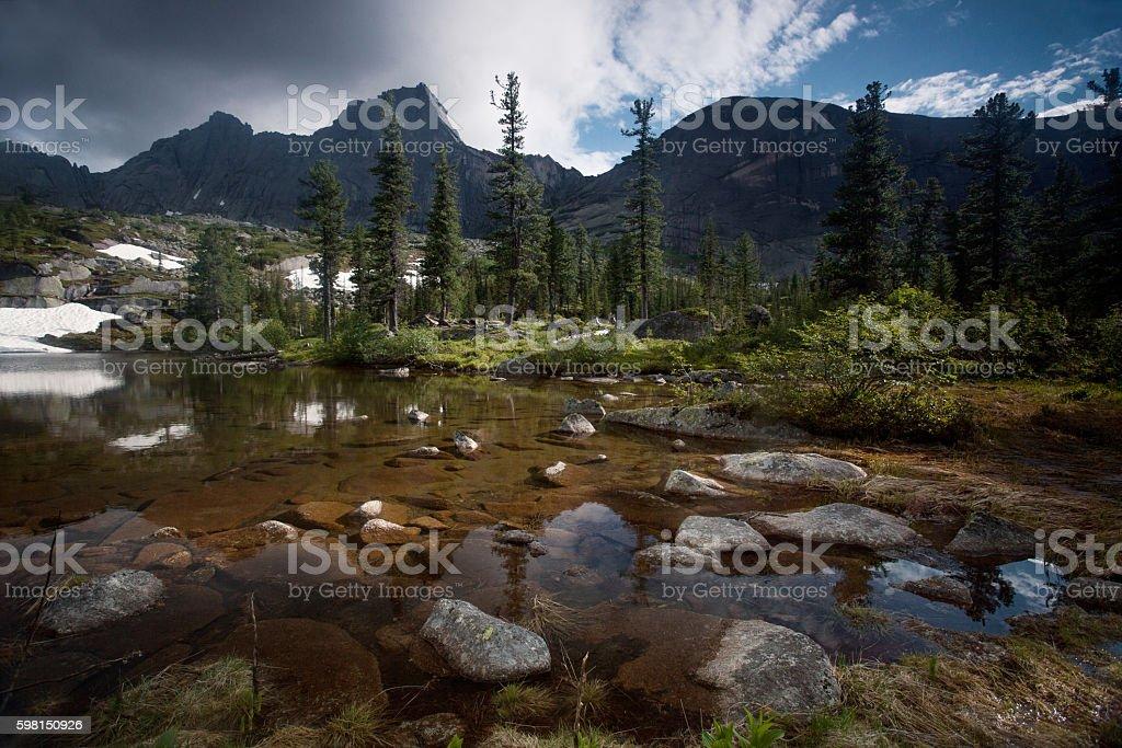 Lake in the mountains. Wildlife Siberia. Sayan royalty-free stock photo