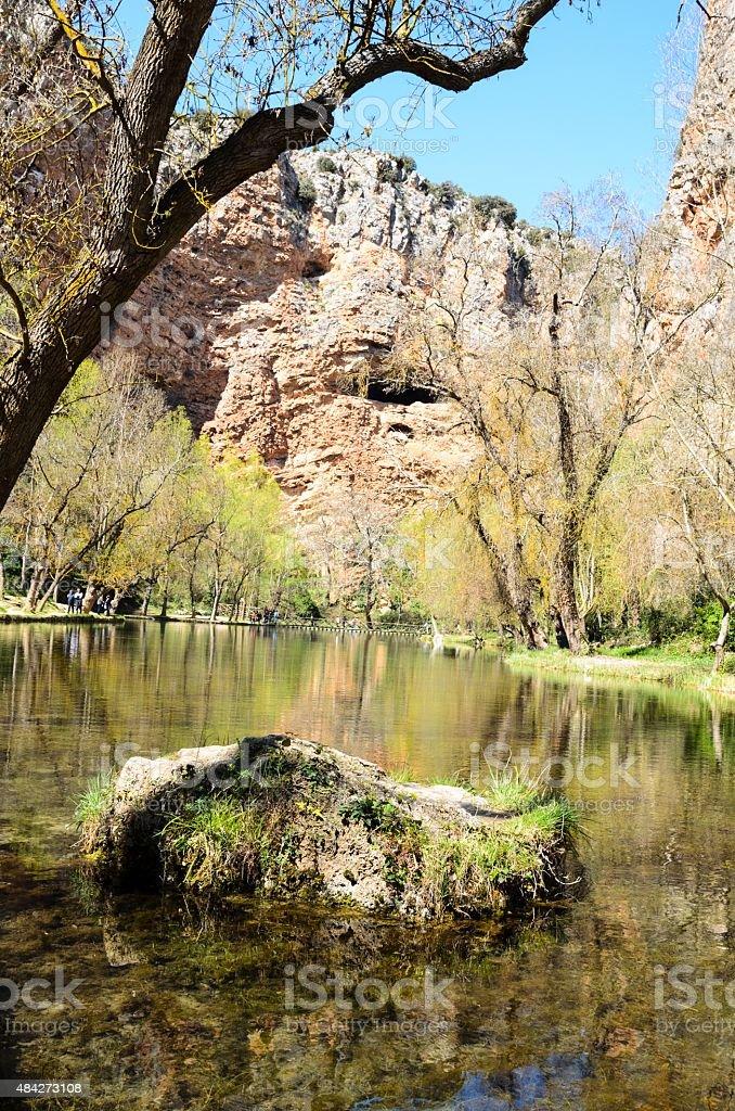 Lake in the spring park. stock photo