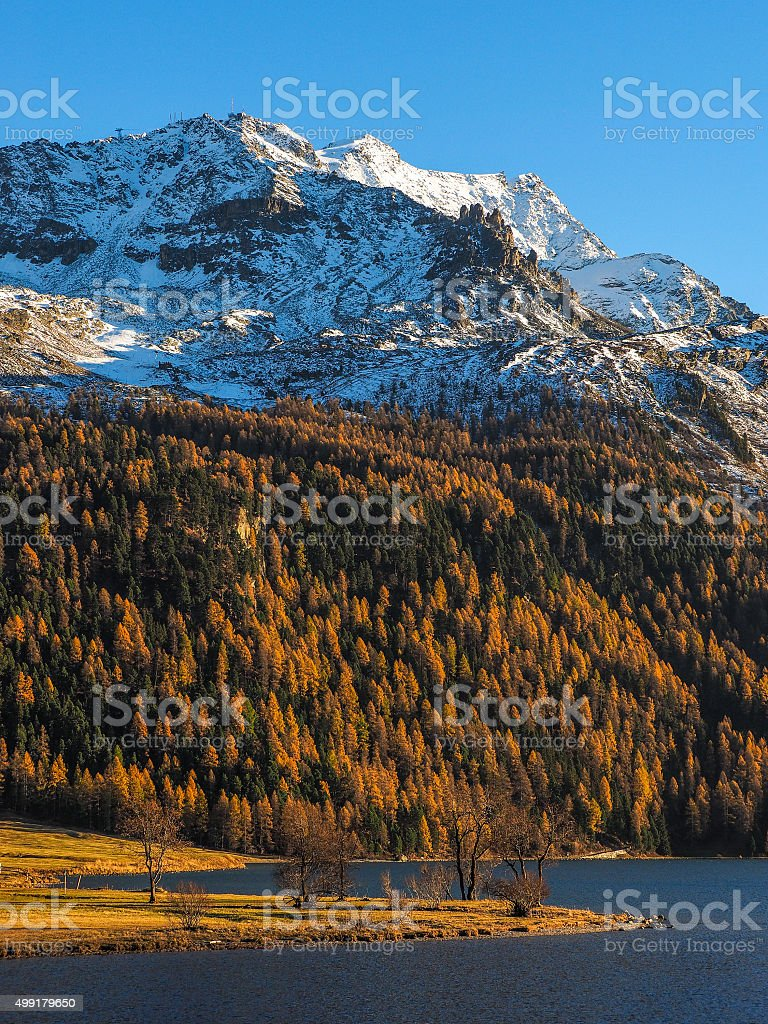 Lake in the Swiss Alps stock photo