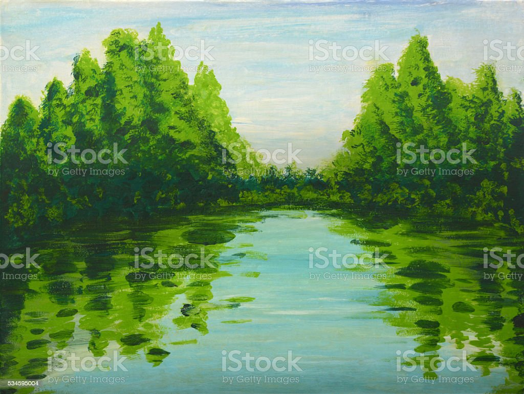 Lake in the woods painting stock photo