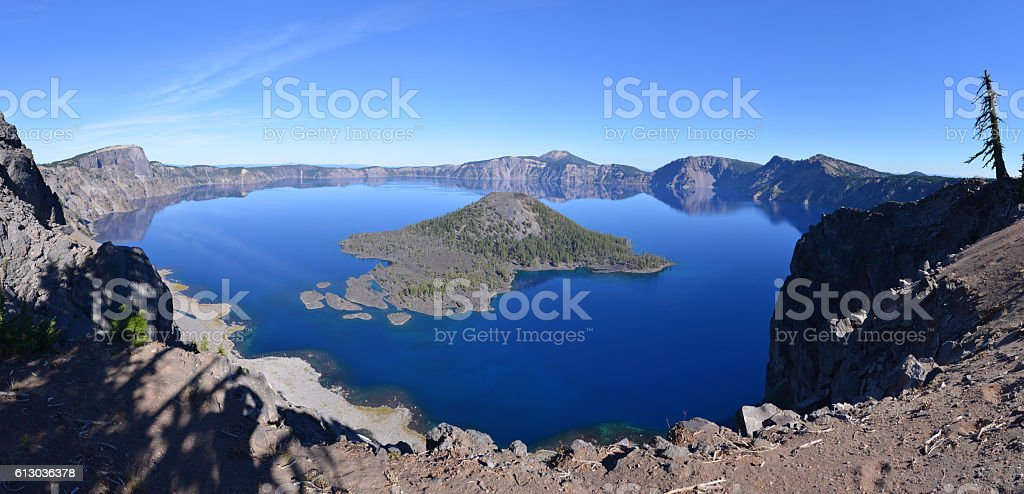 Lake in volcanic crater, Oregon, USA stock photo