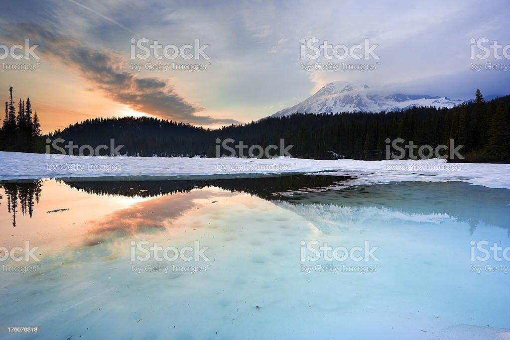 Lake in winter at sunset, Reflection Lake, Mt. Rainier, USA royalty-free stock photo
