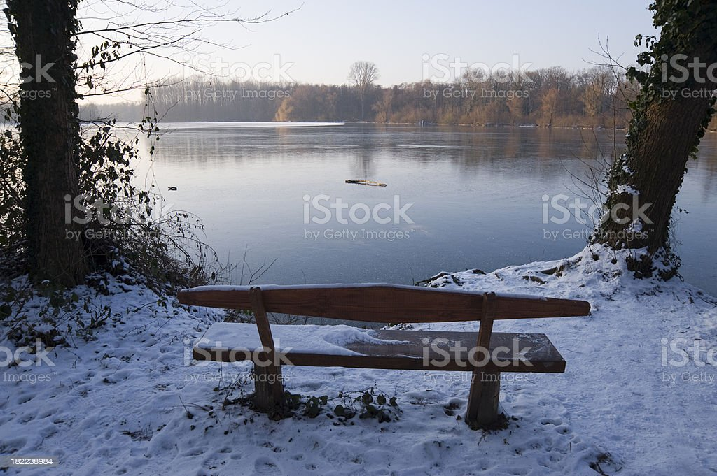 Lake in wintertime nature reserve stock photo