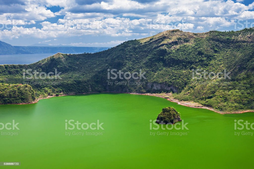 Lake inside Taal volcano stock photo