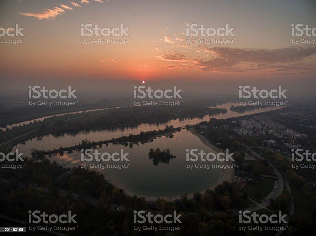 Lake Jarun Sunset stock photo