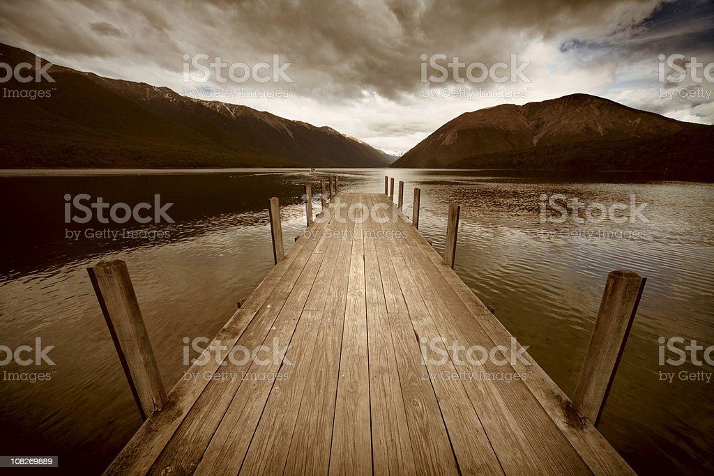 Lake Jetty, Sepia Toned royalty-free stock photo