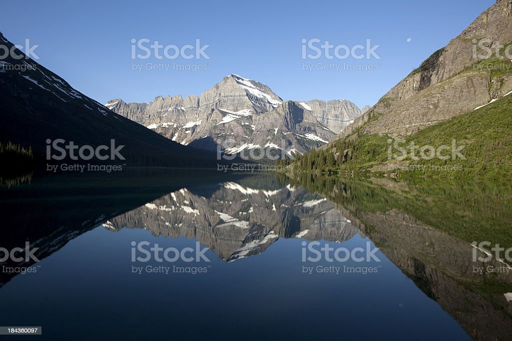 Lake Josephine and Mount Gould Reflections Glacier National Park stock photo