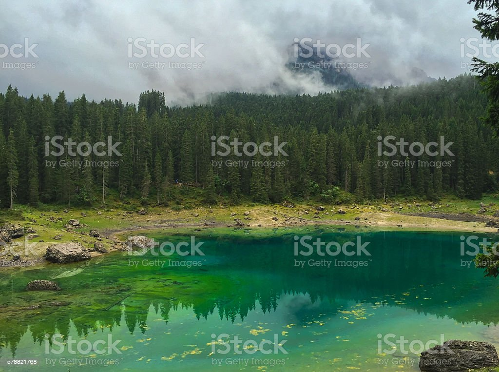 Lake Karersee in Italy stock photo