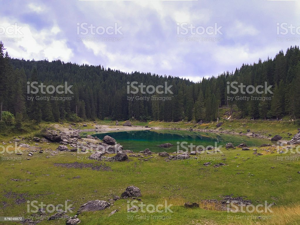 Lake Karersee (Lago di Carezza) in the Dolomites stock photo