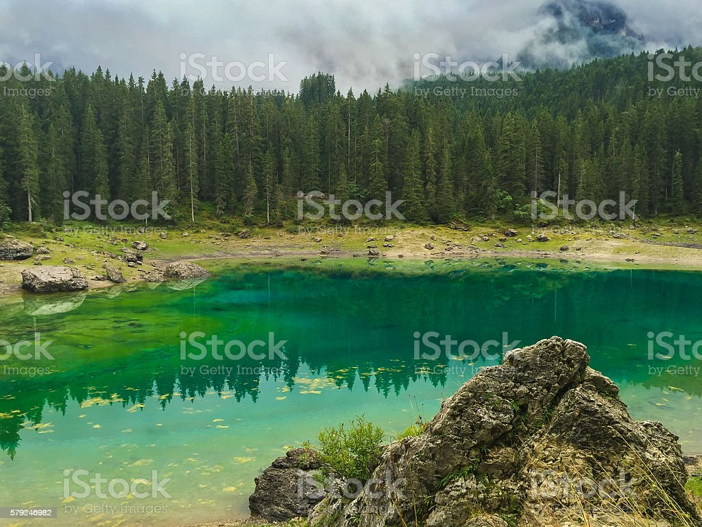 Lake Karersee (Lago di Carezza) in the Dolomites stock photo