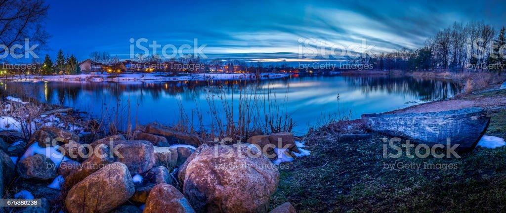 Lake Katherine sunset stock photo