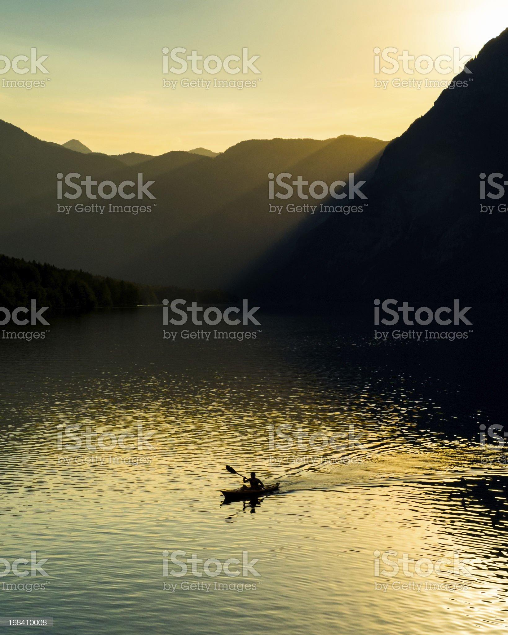 Lake Kayaker royalty-free stock photo