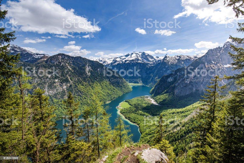 Lake Koenigsee seen from the Archenkanzel, Berchtesgaden, Bavaria, Germany stock photo