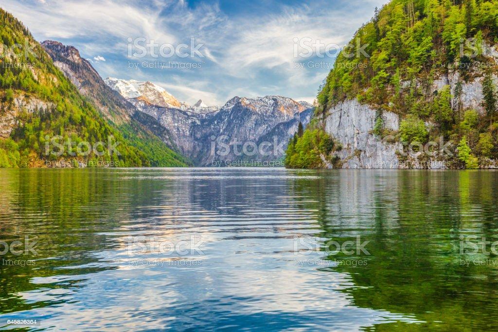 Lake Koenigssee in springtime, Berchtesgadener Land, Bavaria, Germany stock photo