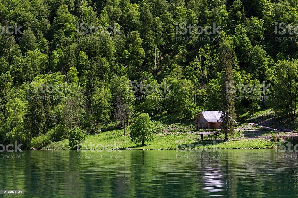 Lake Konigsee, Berchtesgaden, Germany stock photo