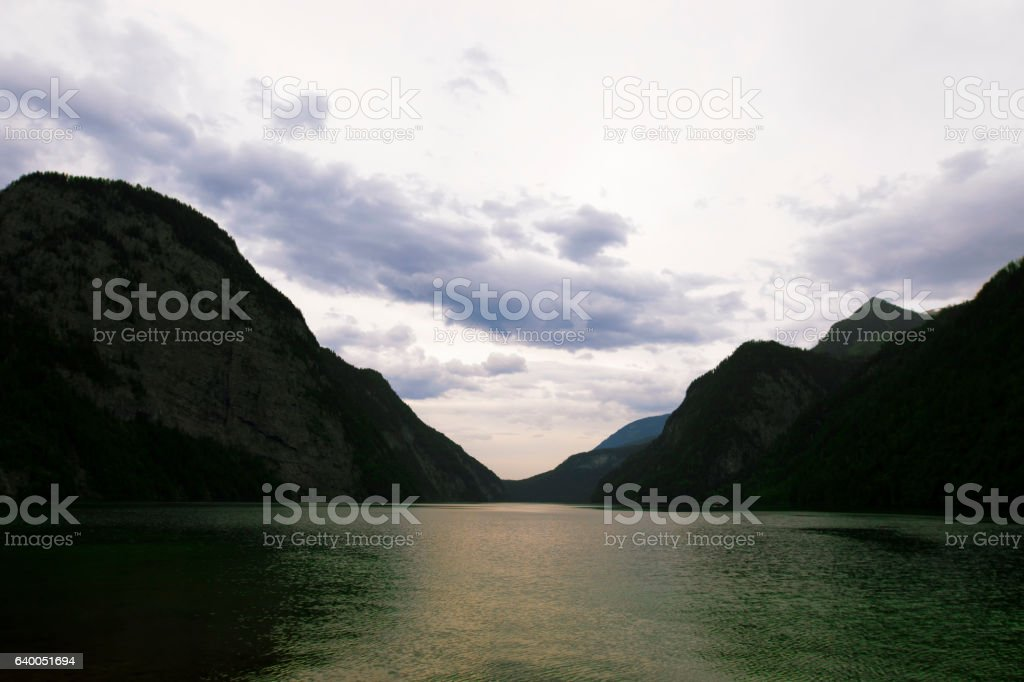 Lake Konigsee in Bavarian Alps. stock photo