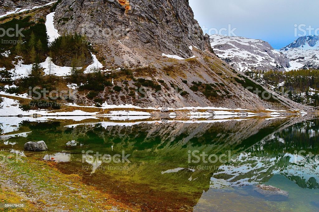 Lake Krn Julian Alps Slovenia stock photo