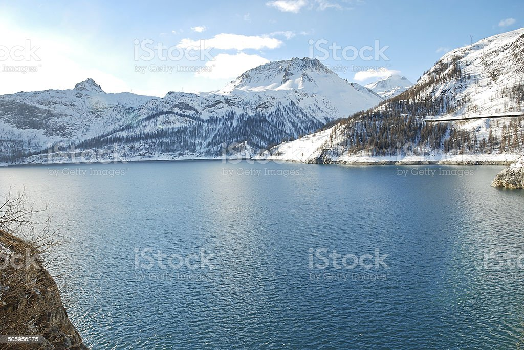 Lake Lac du Chevril in winter, France stock photo