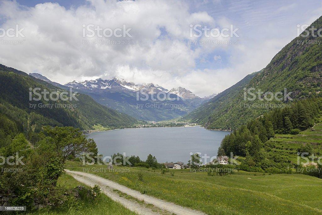 lake Lago di Poschiavo swiss royalty-free stock photo
