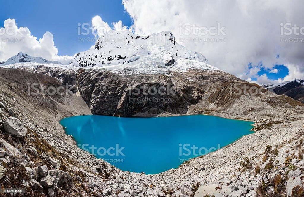 Lake Laguna 69 and Chakrarahu mountain stock photo