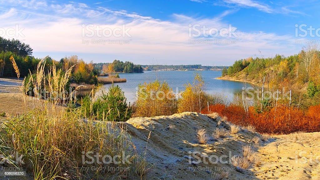 lake, landscape in Lusatia stock photo