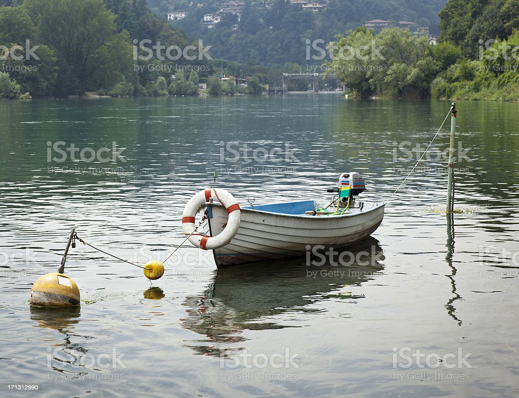 Lake Landscape With Boat royalty-free stock photo