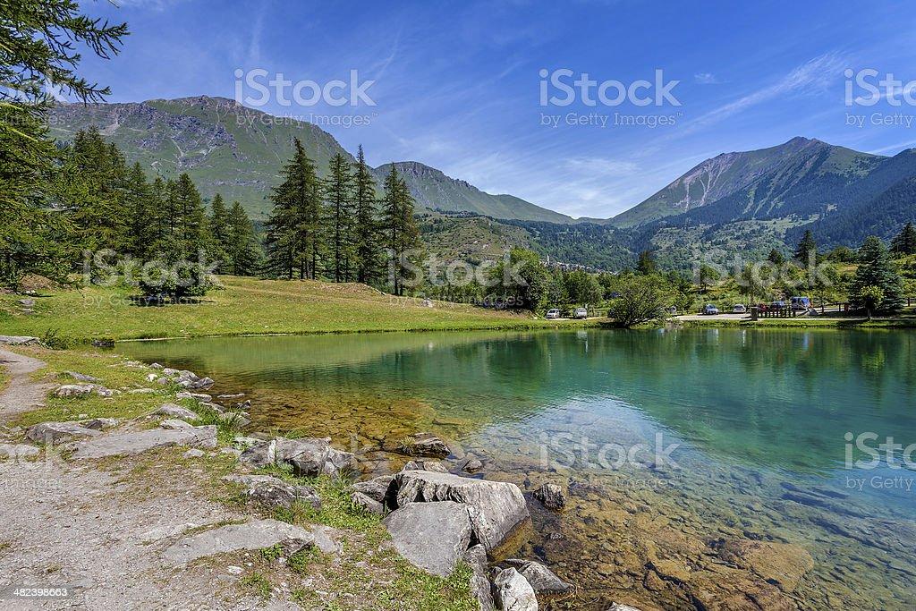 lake laux and mountains. stock photo