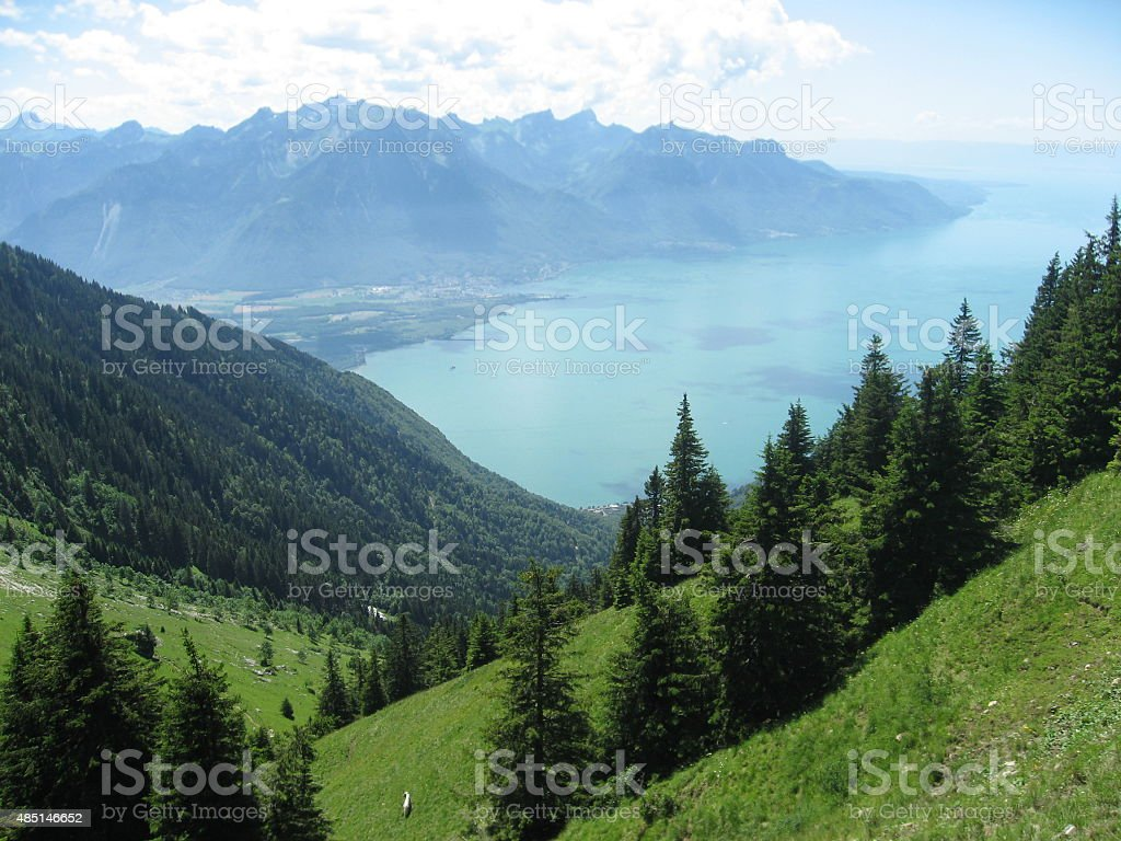 Lake Leman as seen from Rochers-des-Nayes stock photo