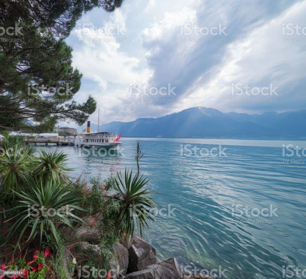 Lake Leman (Lake Geneva) at Montreux in Switzerland stock photo